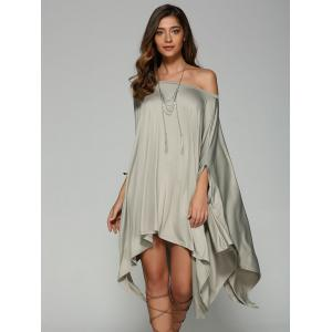 Oversized Handkerchief Tee Dress - LIGHT GRAY XL