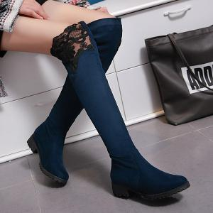 Splicing Suede Embroidery Thigh Boots - DEEP BLUE 41