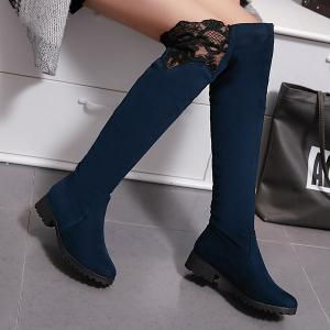 Splicing Suede Embroidery Thigh Boots -
