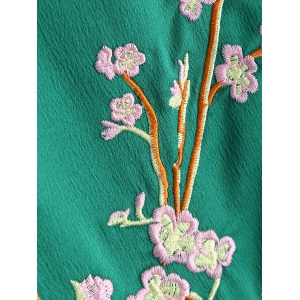 Dragon Flower Embroidery Souvenir Jacket - GREEN L