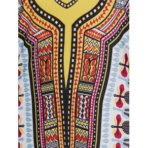 Hooded Ethnic Print Dress - BROWN XL