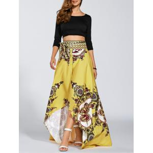 High Waisted High Low Hem Skirt - YELLOW XL
