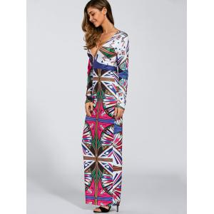 Plunging Neck Printed Maxi Dress -