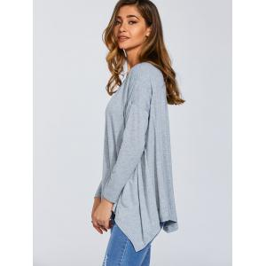 Long Sleeve Hankerchief Hem Top -