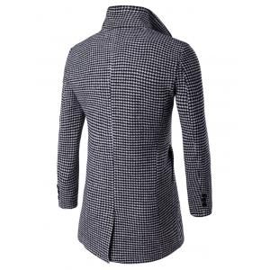 Single-Breasted Houndstooth Pattern Woolen Coat - BLACK 2XL