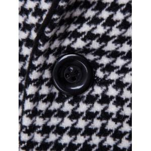 Single-Breasted Houndstooth Pattern Woolen Coat -