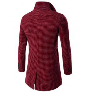 Single-Breasted Houndstooth Pattern Woolen Coat - RED M