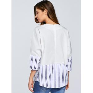 Round Neck Striped Cocoon Blouse -