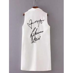 Letter Embroidered Slimming Waistcoat -