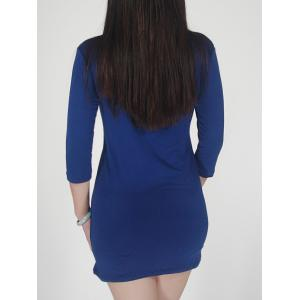 Front Slant Zipper Mini  Bodycon Dress -
