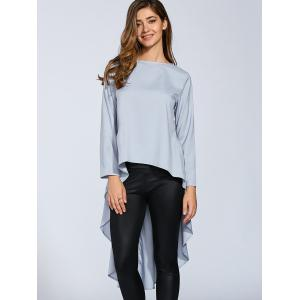 Boat Neck High Low Hem Long Sleeve Top -
