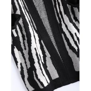 Collarless Zebra Pocket Design Cardigan -