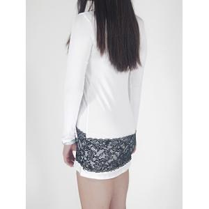 Short Lace Panel Long Sleeve Fitted Dress - WHITE XL