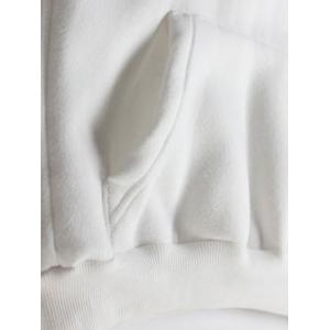 Embroidered Thickening Hoodie - WHITE ONE SIZE