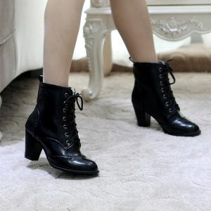 Chunky Heel Engraving Tie Up Ankle Boots -