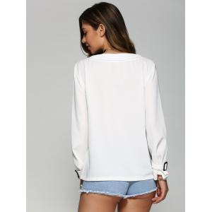 Long Sleeve Loose Blouse - WHITE L
