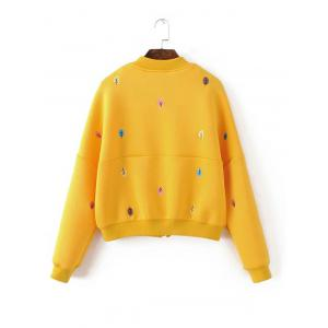 Zip Up Tree Embroidered Bomber Jacket - YELLOW L