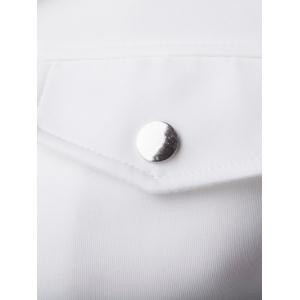 Turn-Down Collar Pockets Design Bomber Jacket - WHITE 2XL