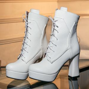 Platform Textured Leather Lace-Up Short Boots - WHITE 41