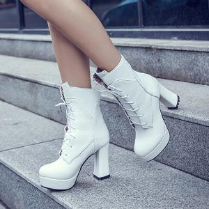 Platform Textured Leather Lace-Up Short Boots -