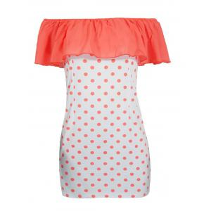 Flounced Polka Dot Overlay Dress -