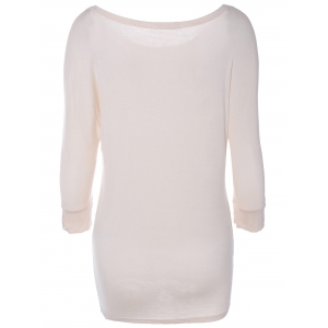 Scoop Neck Batwing Sleeve Solid Color T-Shirt -