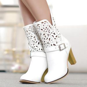 Buckle Engraving PU Leather Boots - WHITE 43