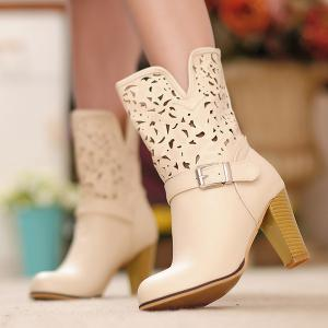 Buckle Engraving PU Leather Boots -