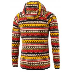 Raglan Sleeve Zipper Up Tribal Printed Hoodie - RED 3XL