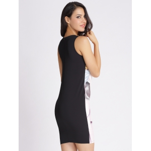 Face Printed Hidden Zipped Dress -