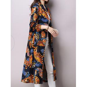 Linen Blend Folding Fan Print Trench Coat -
