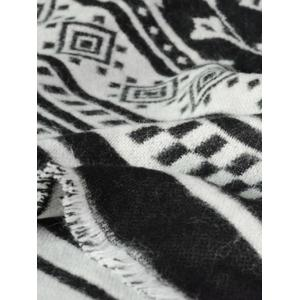 Winter Flower Stripe Pattern Tassel Pashmina Shawl Wrap Scarf - BLACK