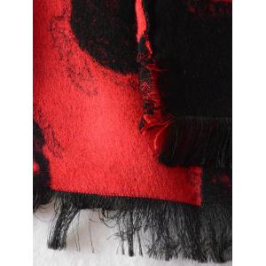 Winter Fringed Edge Skull Shawl Wrap Scarf - RED