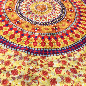 Ethnic Round Totem and Flower Print Long Scarf - LIGHT YELLOW
