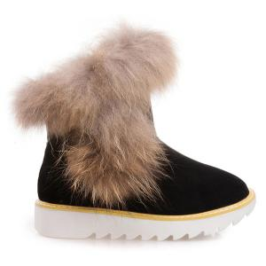 Platform Suede Furry Snow Boots - BLACK 39