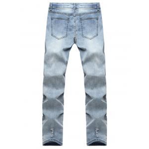 Knee Hole Zipper Fly Ripped Jeans -