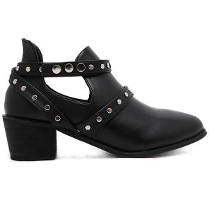 Pointed Toe Studded Strap Snap Closure Ankle Boots -