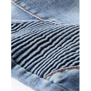 Ribbed Panel Scratched Zipper Fly Five-Pocket Jeans - BLUE 38