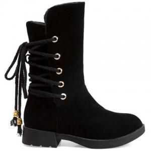 Back Lace-Up Low Heel Suede Mid-Calf Boots -