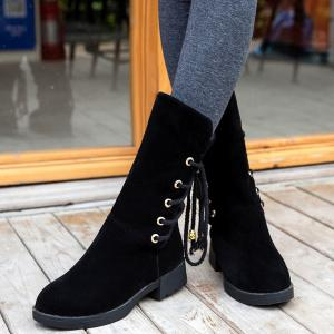 Back Lace-Up Low Heel Suede Mid-Calf Boots - BLACK 39