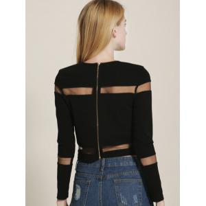Mesh Spliced See Through Cropped T-Shirt -