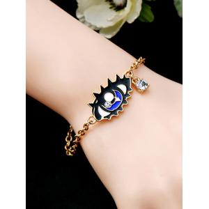Rhinestone Eye Moon Bar Chain Bracelet -