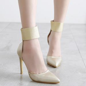 Zipper Elastic Band Pointed Toe Pumps -