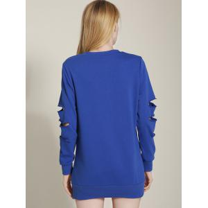 Cut Out Ripped Sleeve Chain Design Sweatshirt -