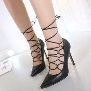 Metal Cross Straps Tie Up Pumps - BLACK 40