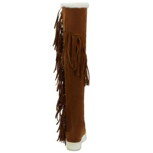 Platform Fringe Hidden Wedge Thigh Boots -