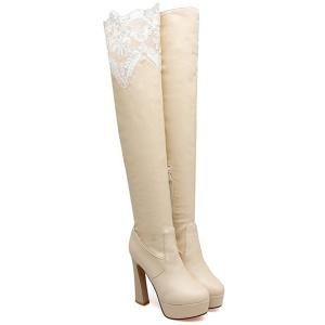 Chunky Heel Lace Spliced Thigh High Boots -