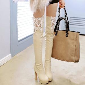 Chunky Heel Lace Spliced Thigh High Boots - LIGHT APRICOT 39