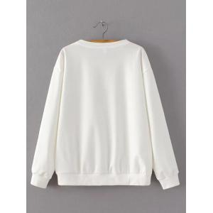 Crochet-Trim Wave Rivet Design Sweatshirt -