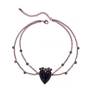 Vintage Rhinestone Alloy Heart Pendant Necklace -